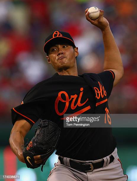 Wei-Yin Chen of the Baltimore Orioles pitches against the Texas Rangers in the bottom of the fourth inning at Rangers Ballpark in Arlington on July...