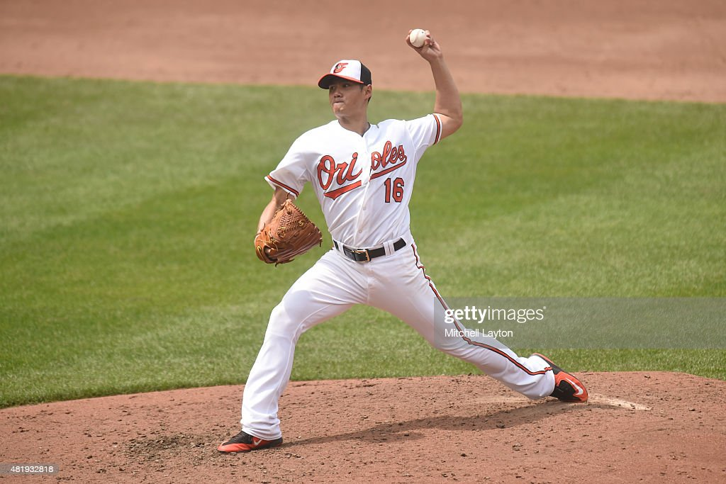 Wei-Yin Chen #16 of the Baltimore Orioles pitches against the Washington Nationals at Oriole Park at Camden Yards on July 12, 2015 in Baltimore, Maryland. The Nationals won 3-2.