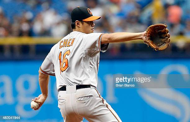 Wei-Yin Chen of the Baltimore Orioles pitches during the first inning of a game against the Tampa Bay Rays on July 26, 2015 at Tropicana Field in St....