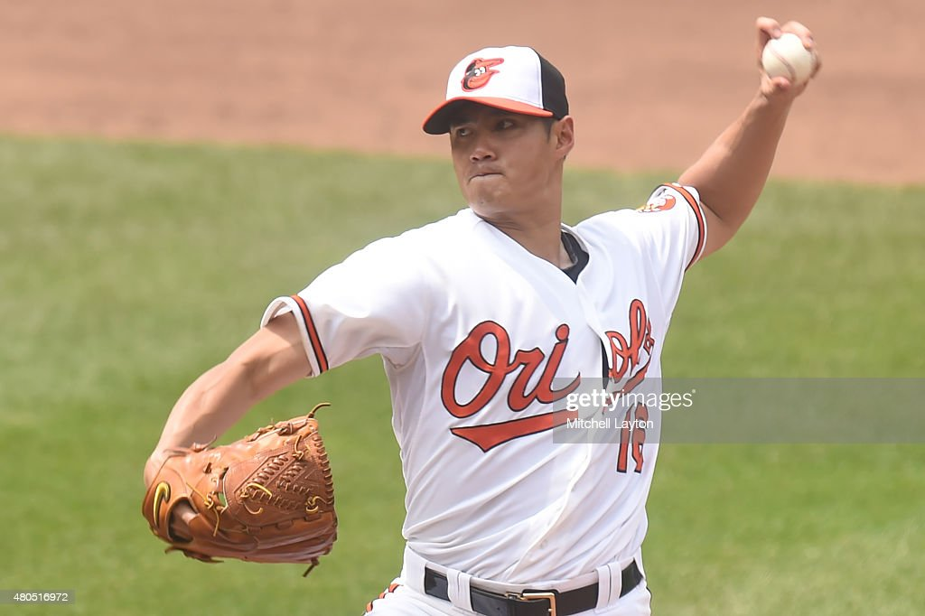 Wei-Yin Chen #16 of the Baltimore Orioles pitches in the fifth inning during a baseball game against the Washington Nationals at Oriole Park at Camden Yards on July 12, 2015 in Baltimore, Maryland. The Nationals won 3-2.