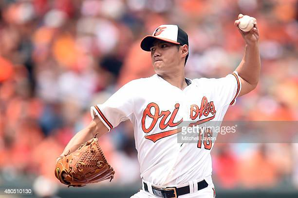 WeiYin Chen of the Baltimore Orioles pitches in the second inning during a baseball game against the Washington Nationals at Oriole Park at Camden...