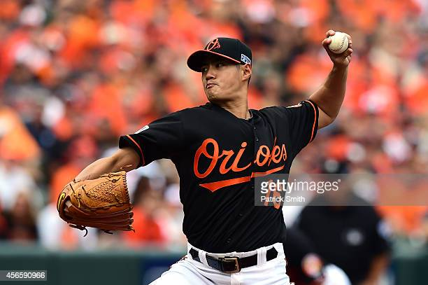 Wei-Yin Chen of the Baltimore Orioles throws a pitch in the first inning against the Detroit Tigers during Game Two of the American League Division...