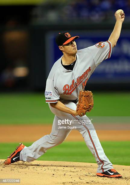 Wei-Yin Chen of the Baltimore Orioles throws a pitch in the first inning against the Kansas City Royals during Game Three of the American League...