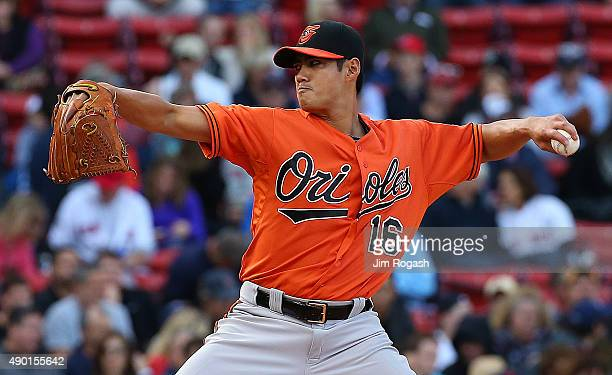 Wei-Yin Chen of the Baltimore Orioles throws against the Boston Red Sox in the first inning at Fenway Park on September 26, 2015 in Boston,...