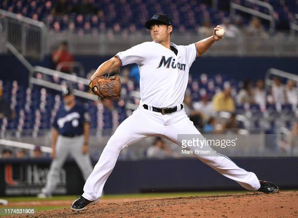 Wei-Yin Chen of the Miami Marlins delivers a pitch against the Milwaukee Brewers at Marlins Park on September 09, 2019 in Miami, Florida.