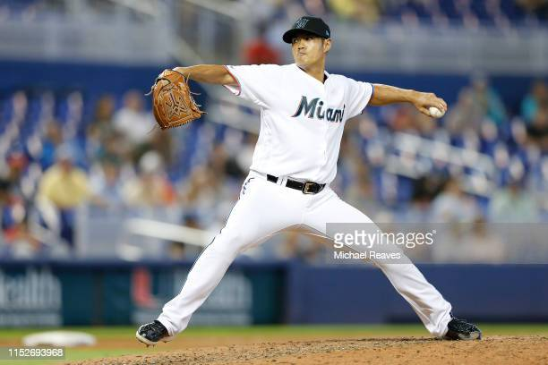 Wei-Yin Chen of the Miami Marlins delivers a pitch in the eighth inning against the San Francisco Giants at Marlins Park on May 30, 2019 in Miami,...
