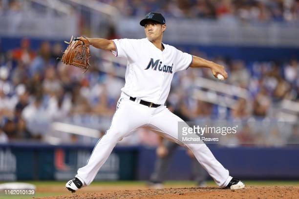 Wei-Yin Chen of the Miami Marlins delivers a pitch in the eighth inning against the New York Mets at Marlins Park on July 14, 2019 in Miami, Florida.