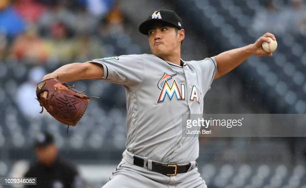 Wei-Yin Chen of the Miami Marlins delivers a pitch in the first inning during the game against the Pittsburgh Pirates at PNC Park on September 8,...