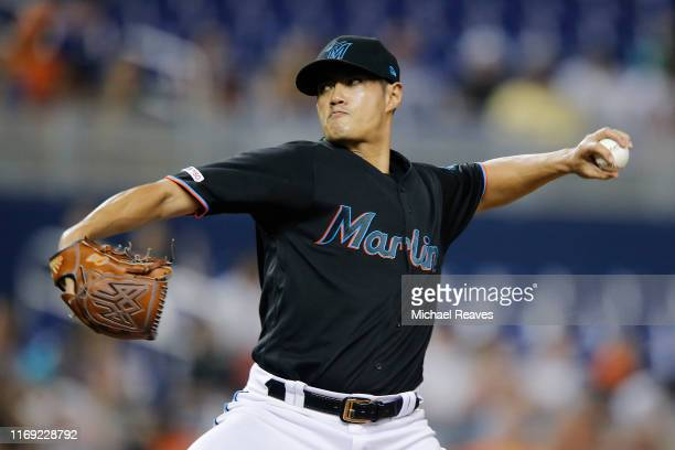 Wei-Yin Chen of the Miami Marlins delivers a pitch in the ninth inning against the Atlanta Braves at Marlins Park on August 09, 2019 in Miami,...