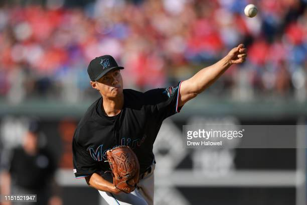 Wei-Yin Chen of the Miami Marlins delivers a pitch in the seventh inning against the Philadelphia Phillies at Citizens Bank Park on June 22, 2019 in...