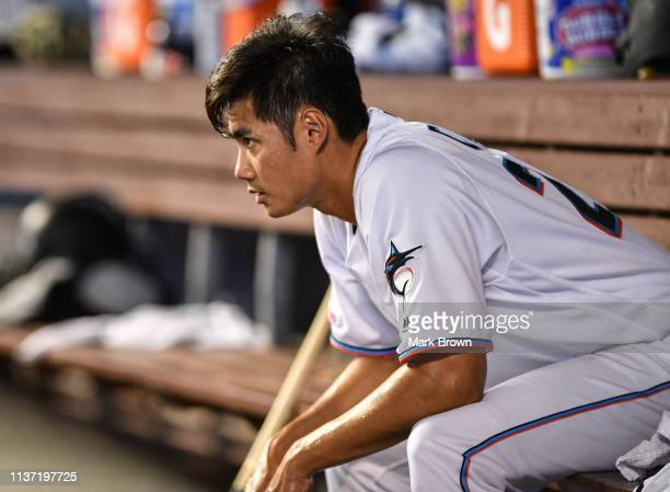 Wei-Yin Chen of the Miami Marlins in the dugout after giving up a two run home run to Jean Segura of the Philadelphia Phillies in the fourteenth...