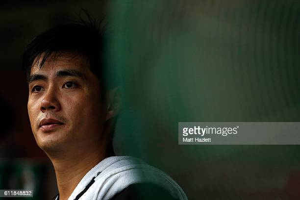 Wei-Yin Chen of the Miami Marlins looks on from the dug out against the Washington Nationals in the sixth inning at Nationals Park on October 1, 2016...