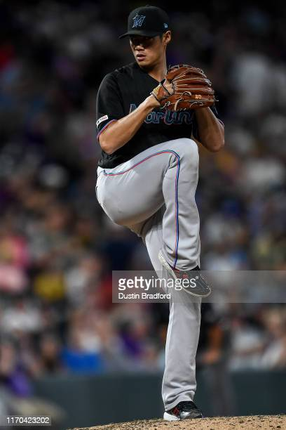 Wei-Yin Chen of the Miami Marlins pitches against the Colorado Rockies at Coors Field on August 17, 2019 in Denver, Colorado.