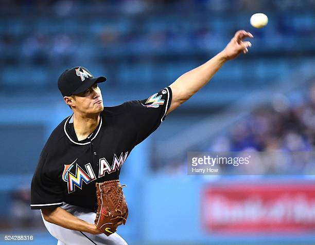 Wei-Yin Chen of the Miami Marlins pitches against the Los Angeles Dodgers during the first inning at Dodger Stadium on April 25, 2016 in Los Angeles,...