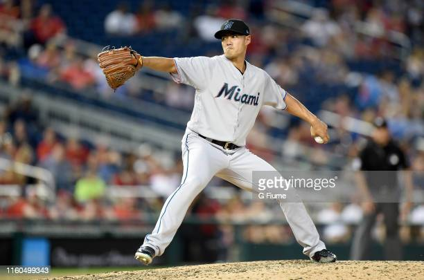 Wei-Yin Chen of the Miami Marlins pitches against the Washington Nationals at Nationals Park on July 3, 2019 in Washington, DC.