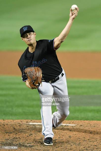 Wei-Yin Chen of the Miami Marlins pitches in the fifth inning during a baseball game against the Washington Nationals at Nationals Park on August 31,...
