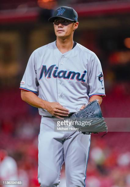 Wei-Yin Chen of the Miami Marlins walks off the field during the game against the Cincinnati Reds at Great American Ball Park on April 9, 2019 in...