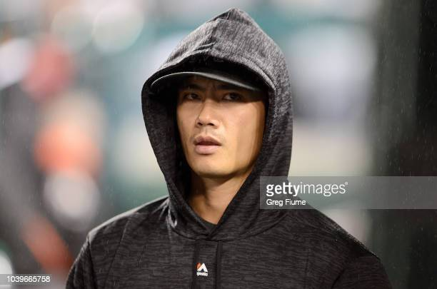 Wei-Yin Chen of the Miami Marlins watches the game in the seventh inning against the Washington Nationals at Nationals Park on September 24, 2018 in...