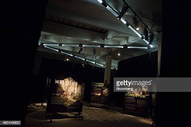 Welcome and information signs are displayed at the entrance to the Lowline Lab in New York US on Monday Oct 12 2015 An underground park in New York...