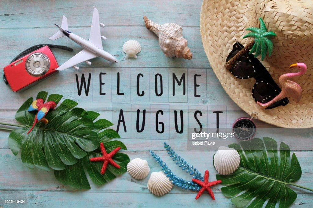 Welcome August Flat Lay : Foto de stock
