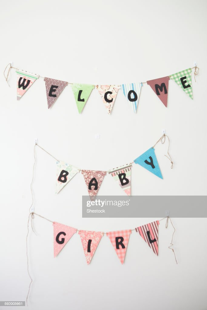 Welcome Baby Girl sign on wall : Stock Photo