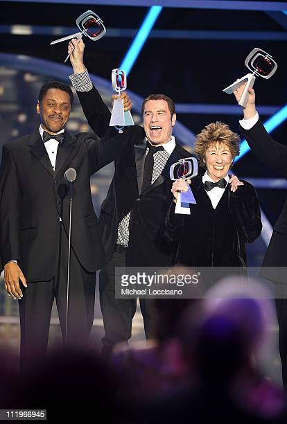 "Welcome Back. Kotter"" cast Lawrence Hilton-Jacobs, John Travolta and Ellen Travolta accept 35th Anniversary Award onstage at the 9th Annual TV Land..."