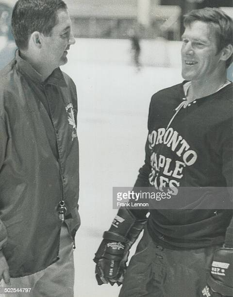 Welcome back Tim Johnny McLellan coach of Maple Leafs welcome allstar defenceman Tim Horton to practice today at Maple Leaf Gardens It was first time...