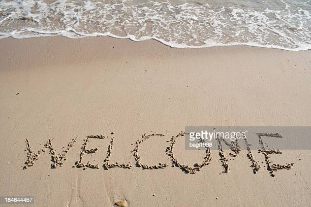Welcome background on the beach