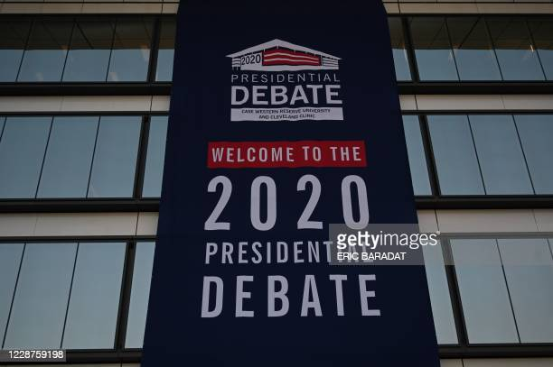 Welcome banner hangs on the side of the Sheila and Eric Samson Pavilion on the Cleveland Clinic Main Campus on September 27, 2020 in Cleveland Ohio,...