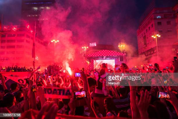 Welcome celebration Croatian soccer team on the Ban Jelacic square