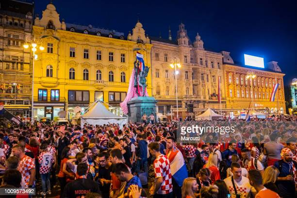 Welcome celebretion Croatian soccer team on the Ban Jelacic square