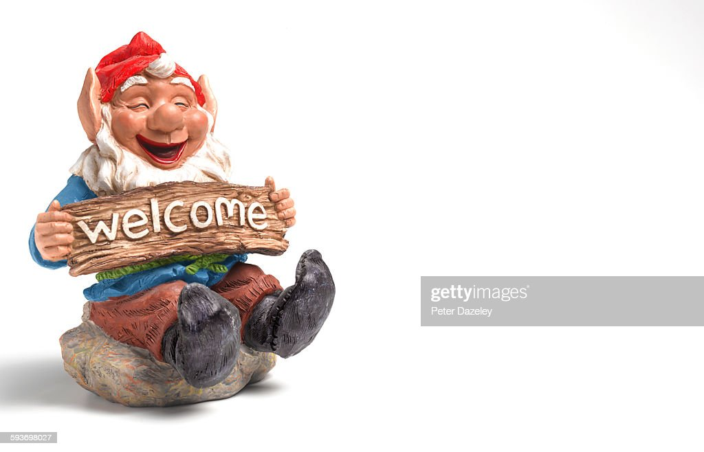 Welcome garden gnome with copy space : Stock Photo