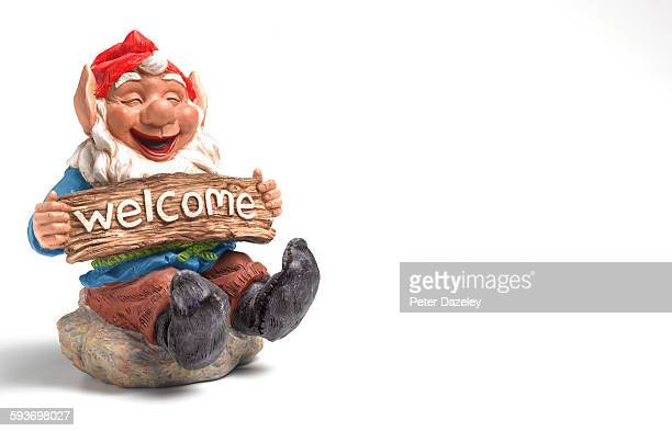 Welcome garden gnome with copy space