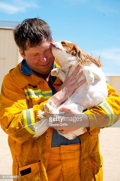 welcome home firefighter! - firefighter stock pictures, royalty-free photos & images