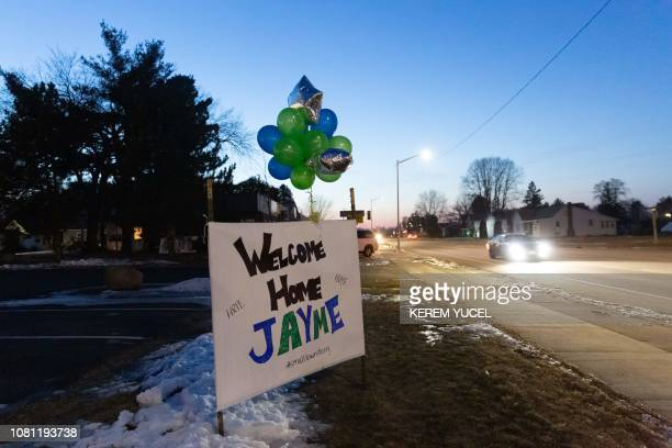 """Welcome Home Jayme"""" sign displayed for Jayme Closs on January 11, 2019 in Barron, Wisconsin, one day after the missing teenager was found coming out..."""