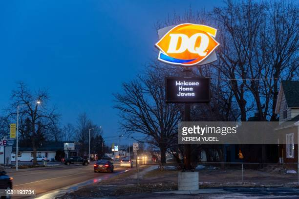 A Welcome Home Jayme sign is displayed at a Dairy Queen restaurant on January 11 2019 in Barron Wisconsin one day after the missing teenager was...