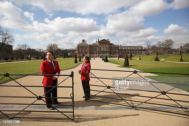 Welcome Hosts at the entrance to Kensington Palace on March 20 2012 in London England Kensington Palace is due to reopen to the public on March 26...