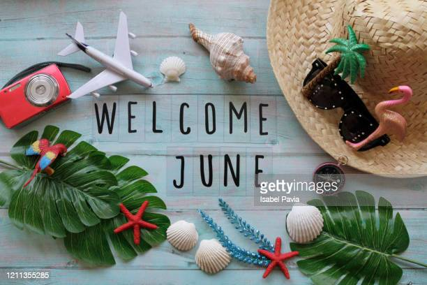 welcome june flat lay - june stock pictures, royalty-free photos & images