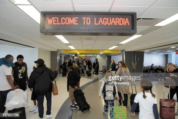 A welcome LED sign in LaGuardia Airport