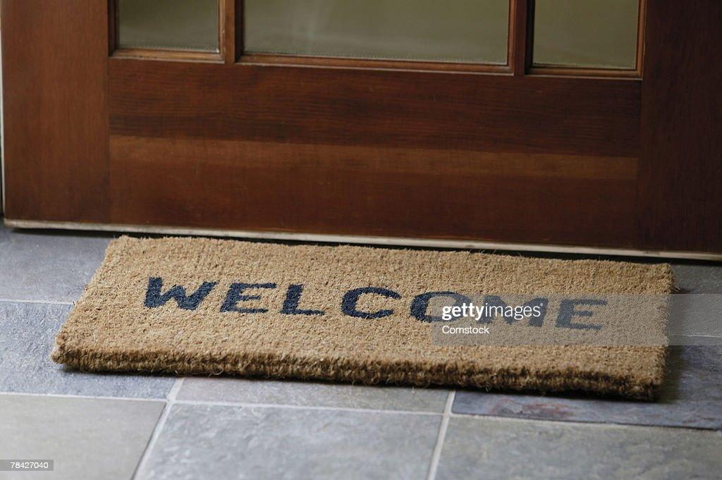 Welcome Mat At Front Door High Res