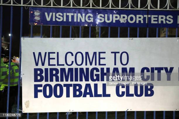 A welcome sign ahead of the match during the Sky Bet Championship match at St Andrew's Trillion Trophy Stadium Birmingham