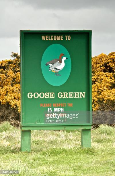 Welcome sign at the entrance to Goose Green settlement on the Falkland Islands on February 21 2102 April will see the 30th Anniversary of the 1982...