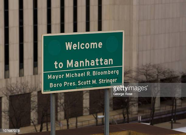 A welcome sign greeting drivers on the Brooklyn Bridge heading into lower Manhattan is viewed on December 11 2010 in the Brooklyn borough of New York...