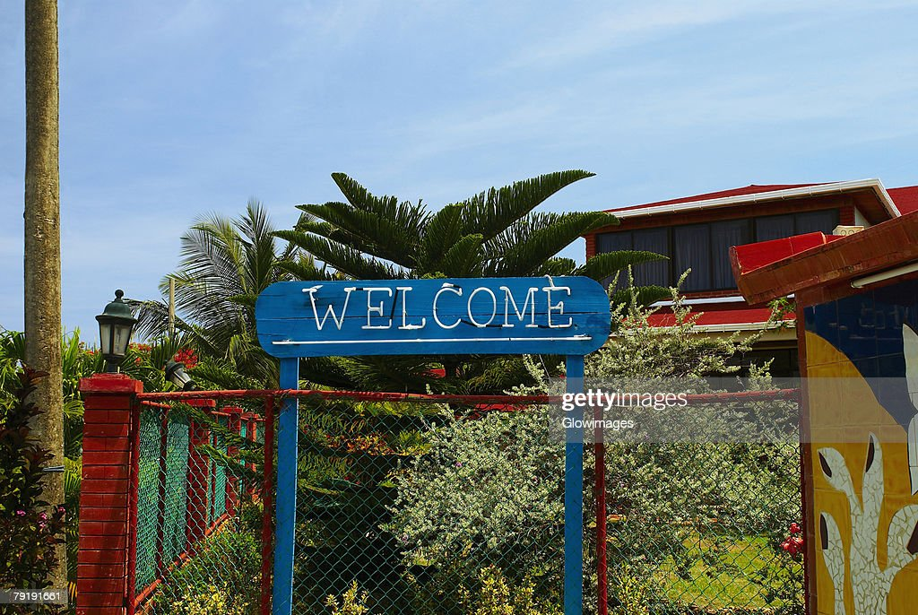 Welcome sign in front of a building, San Andres, Providencia y Santa Catalina, San Andres y Providencia Department, Colombia : Stock Photo