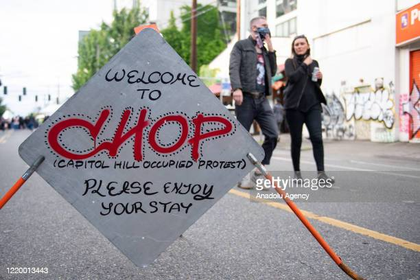 Welcome sign inside the âCapitol Hill Organized Protestâ formerly known as the âCapitol Hill Autonomous Zoneâ in Seattle, Washington on June 14,...
