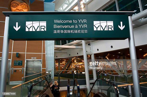 Welcome sign is displayed at the Vancouver International Airport in Vancouver, British Columbia, Canada, on Saturday, Nov. 12, 2011. Vancouver, a...