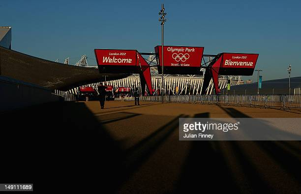 A welcome sign is seen in front of the Olympic Stadium during previews ahead of the London Olympic Games at the Olympic Park on July 23 2012 in...