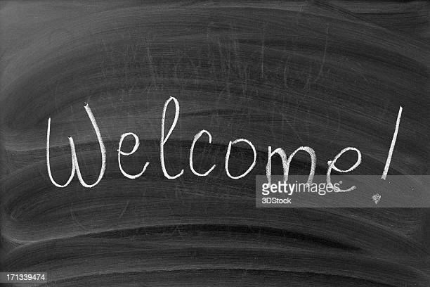 Welcome sign on the blackboard