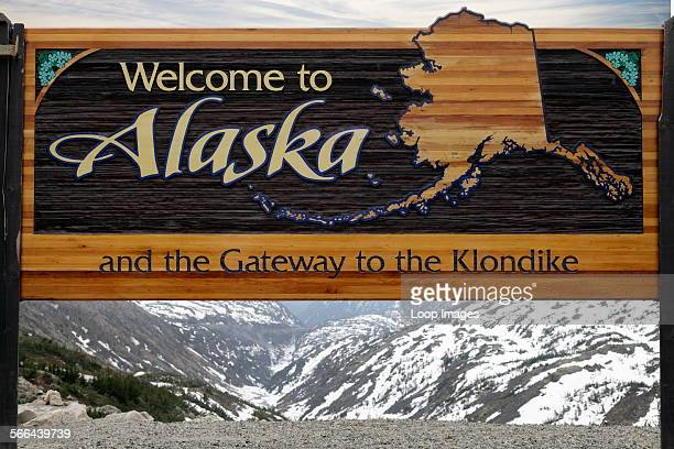Welcome to Alaska sign when entering from Canada