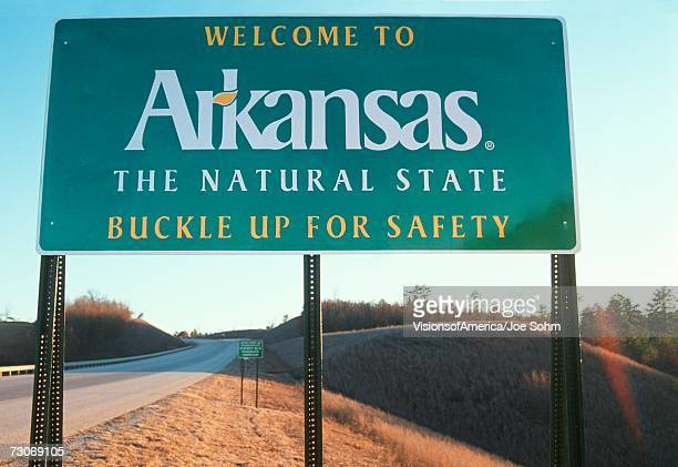 welcome to arkansas sign - arkansas stock photos and pictures